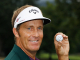 WHITE SULPHUR SPRINGS, WV - AUGUST 01:  Stuart Appleby of Australia poses with his golf ball after he finished with an 11-under par 59 during the final round of the Greenbrier Classic on The Old White Course at the Greenbrier Resort  on August 1, 2010 in White Sulphur Springs, West Virginia.  (Photo by Scott Halleran/Getty Images)