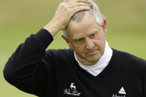 Colin Montgomerie of Scotland is seen on the 18th green during the second round of the British Open Golf championship, at the Royal Birkdale golf course, Southport, England, Friday, July 18, 2008. (AP Photo/Matt Dunham)