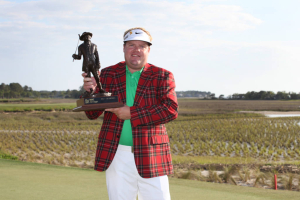 HILTON HEAD ISLAND, SC - APRIL 15: Carl Pettersson of Sweden holds the championship trophy after winning the RBC Heritage presented by Boeing at Harbour Town Golf Links on April 15, 2012 in Hilton Head Island, South Carolina. (Photo by Hunter Martin/Getty Images)